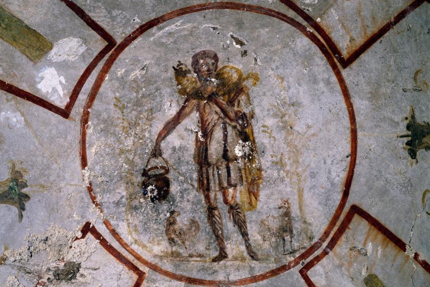Włochy, ok. 2002: Dobry Pasterz, fresk, katakumby Kaliksta, Rzym. Włochy, III w. (foto DeAgostini/Getty Images)