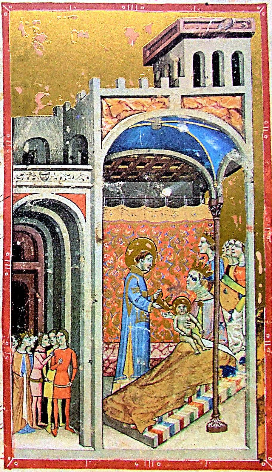 Narodziny Stefana przedstawione w Kronice ilustrowanej, XIV w.