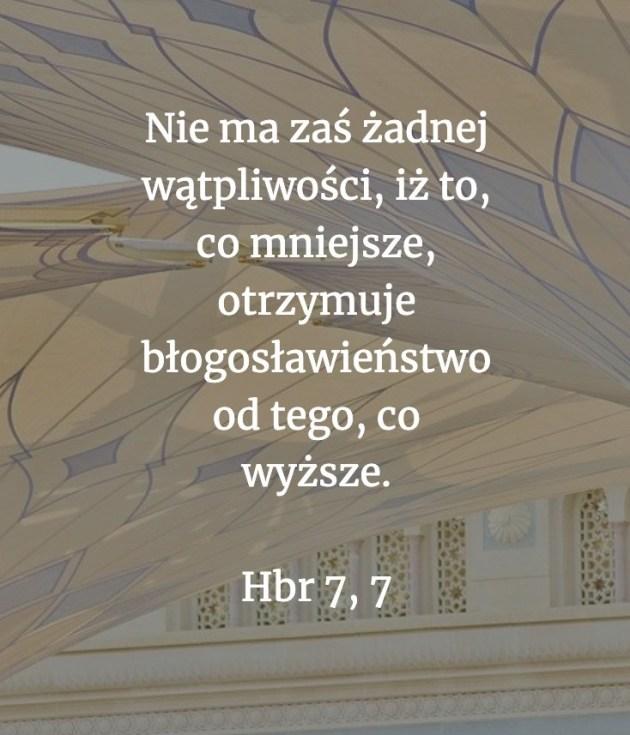 Cytat z Biblii [Hbr 7,7]
